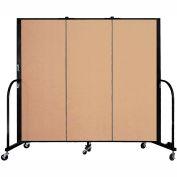"Screenflex 3 Panel Portable Room Divider, 5'H x 5'9""L, Fabric Color: Wheat"
