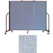 "Screenflex 3 Panel Portable Room Divider, 5'H x 5'9""L, Vinyl Color: Blue Tide"