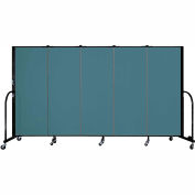 "Screenflex 5 Panel Portable Room Divider, 5'H x 9'5""L, Fabric Color: Lake"
