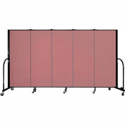 "Screenflex 5 Panel Portable Room Divider, 5'H x 9'5""L, Fabric Color: Rose"