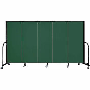 "Screenflex 5 Panel Portable Room Divider, 5'H x 9'5""L, Fabric Color: Mallard"
