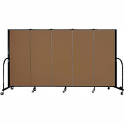"Screenflex 5 Panel Portable Room Divider, 5'H x 9'5""L, Fabric Color: Walnut"