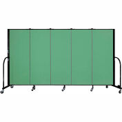 "Screenflex 5 Panel Portable Room Divider, 5'H x 9'5""L, Fabric Color: Sea Green"