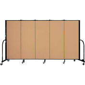"Screenflex 5 Panel Portable Room Divider, 5'H x 9'5""L, Fabric Color: Sand"