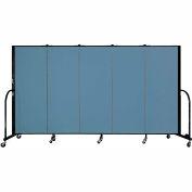 "Screenflex 5 Panel Portable Room Divider, 5'H x 9'5""L, Fabric Color: Blue"
