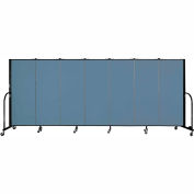 "Screenflex 7 Panel Portable Room Divider, 5'H x 13'1""L, Fabric Color: Summer Blue"