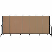 "Screenflex 7 Panel Portable Room Divider, 5'H x 13'1""L, Fabric Color: Beech"