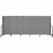 "Screenflex 7 Panel Portable Room Divider, 5'H x 13'1""L, Fabric Color: Grey"