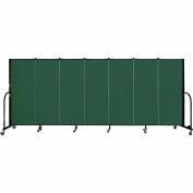 "Screenflex 7 Panel Portable Room Divider, 5'H x 13'1""L, Fabric Color: Green"