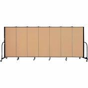 "Screenflex 7 Panel Portable Room Divider, 5'H x 13'1""L, Fabric Color: Wheat"