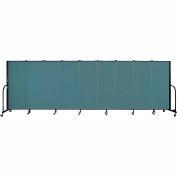"Screenflex 9 Panel Portable Room Divider, 5'H x 16'9""L, Fabric Color: Lake"