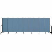 "Screenflex 9 Panel Portable Room Divider, 5'H x 16'9""L, Fabric Color: Summer Blue"