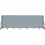 "Screenflex 9 Panel Portable Room Divider, 5'H x 16'9""L, Fabric Color: Grey Stone"