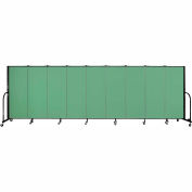 "Screenflex 9 Panel Portable Room Divider, 5'H x 16'9""L, Fabric Color: Sea Green"