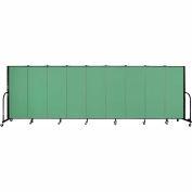 "Screenflex 9 Panel Portable Room Divider, 5'H x 16'9""L, Fabric Color: Sea Green"