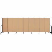 "Screenflex 9 Panel Portable Room Divider, 5'H x 16'9""L, Fabric Color: Sand"