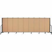 "Screenflex 9 Panel Portable Room Divider, 5'H x 16'9""L, Fabric Color: Sand"