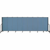 "Screenflex 9 Panel Portable Room Divider, 5'H x 16'9""L, Fabric Color: Blue"
