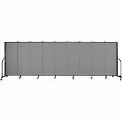 "Screenflex 9 Panel Portable Room Divider, 5'H x 16'9""L, Fabric Color: Grey"