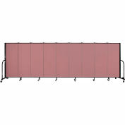 "Screenflex 9 Panel Portable Room Divider, 5'H x 16'9""L, Fabric Color: Mauve"