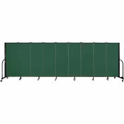 "Screenflex 9 Panel Portable Room Divider, 5'H x 16'9""L, Fabric Color: Green"