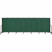 "Screenflex 9 Panel Portable Room Divider, 5'H x 16'9""L, Fabric Color: Green"