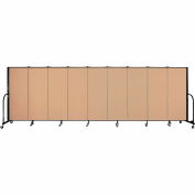 "Screenflex 9 Panel Portable Room Divider, 5'H x 16'9""L, Fabric Color: Wheat"