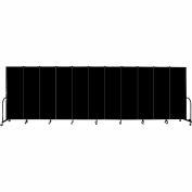 "Screenflex 11 Panel Portable Room Divider, 6'H x 20'5""L, Fabric Color: Charcoal Black"