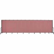 "Screenflex 13 Panel Portable Room Divider, 6'H x 24'1""L, Fabric Color: Rose"