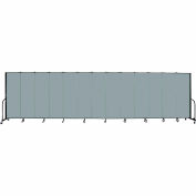 "Screenflex 13 Panel Portable Room Divider, 6'H x 24'1""L, Fabric Color: Grey Stone"