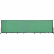"Screenflex 13 Panel Portable Room Divider, 6'H x 24'1""L, Fabric Color: Sea Green"
