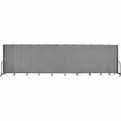 "Screenflex 13 Panel Portable Room Divider, 6'H x 24'1""L, Fabric Color: Grey"