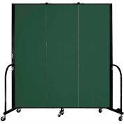"Screenflex 3 Panel Portable Room Divider, 6'H x 5'9""L, Fabric Color: Mallard"