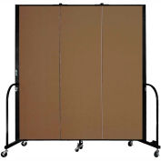 "Screenflex 3 Panel Portable Room Divider, 6'H x 5'9""L, Fabric Color: Walnut"