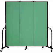 "Screenflex 3 Panel Portable Room Divider, 6'H x 5'9""L, Fabric Color: Sea Green"