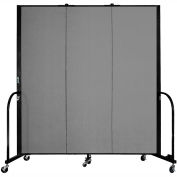 "Screenflex 3 Panel Portable Room Divider, 6'H x 5'9""L, Fabric Color: Grey"