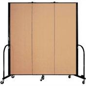 "Screenflex Portable Room Divider - 3 Panel - 6'H x 5'9""L -  Wheat"