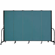 "Screenflex 5 Panel Portable Room Divider, 6'H x 9'5""L, Fabric Color: Lake"