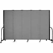 "Screenflex 5 Panel Portable Room Divider, 6'H x 9'5""L, Fabric Color: Stone"