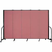 "Screenflex 5 Panel Portable Room Divider, 6'H x 9'5""L, Fabric Color: Rose"