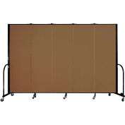 "Screenflex 5 Panel Portable Room Divider, 6'H x 9'5""L, Fabric Color: Walnut"