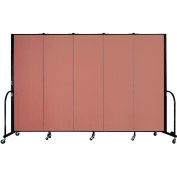 "Screenflex 5 Panel Portable Room Divider, 6'H x 9'5""L, Fabric Color: Cranberry"
