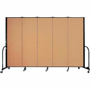 "Screenflex 5 Panel Portable Room Divider, 6'H x 9'5""L, Fabric Color: Sand"