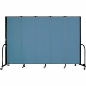 "Screenflex 5 Panel Portable Room Divider, 6'H x 9'5""L, Fabric Color: Blue"