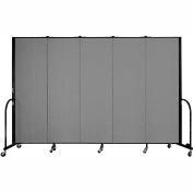 "Screenflex 5 Panel Portable Room Divider, 6'H x 9'5""L, Fabric Color: Grey"
