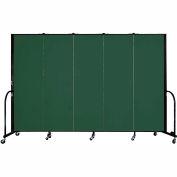 "Screenflex 5 Panel Portable Room Divider, 6'H x 9'5""L, Fabric Color: Green"
