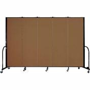 "Screenflex 5 Panel Portable Room Divider, 6'H x 9'5""L, Fabric Color: Oatmeal"