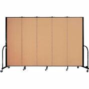 "Screenflex Portable Room Divider - 5 Panel - 6'H x 9'5""L -  Wheat"