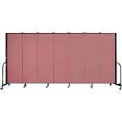 "Screenflex 7 Panel Portable Room Divider, 6'H x 13'1""L, Fabric Color: Rose"