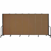 "Screenflex 7 Panel Portable Room Divider, 6'H x 13'1""L, Fabric Color: Walnut"